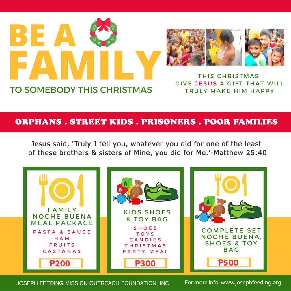 "CHRISTMAS: ""BE A FAMILY"" TO SOMEBODY THIS CHRISTMAS"